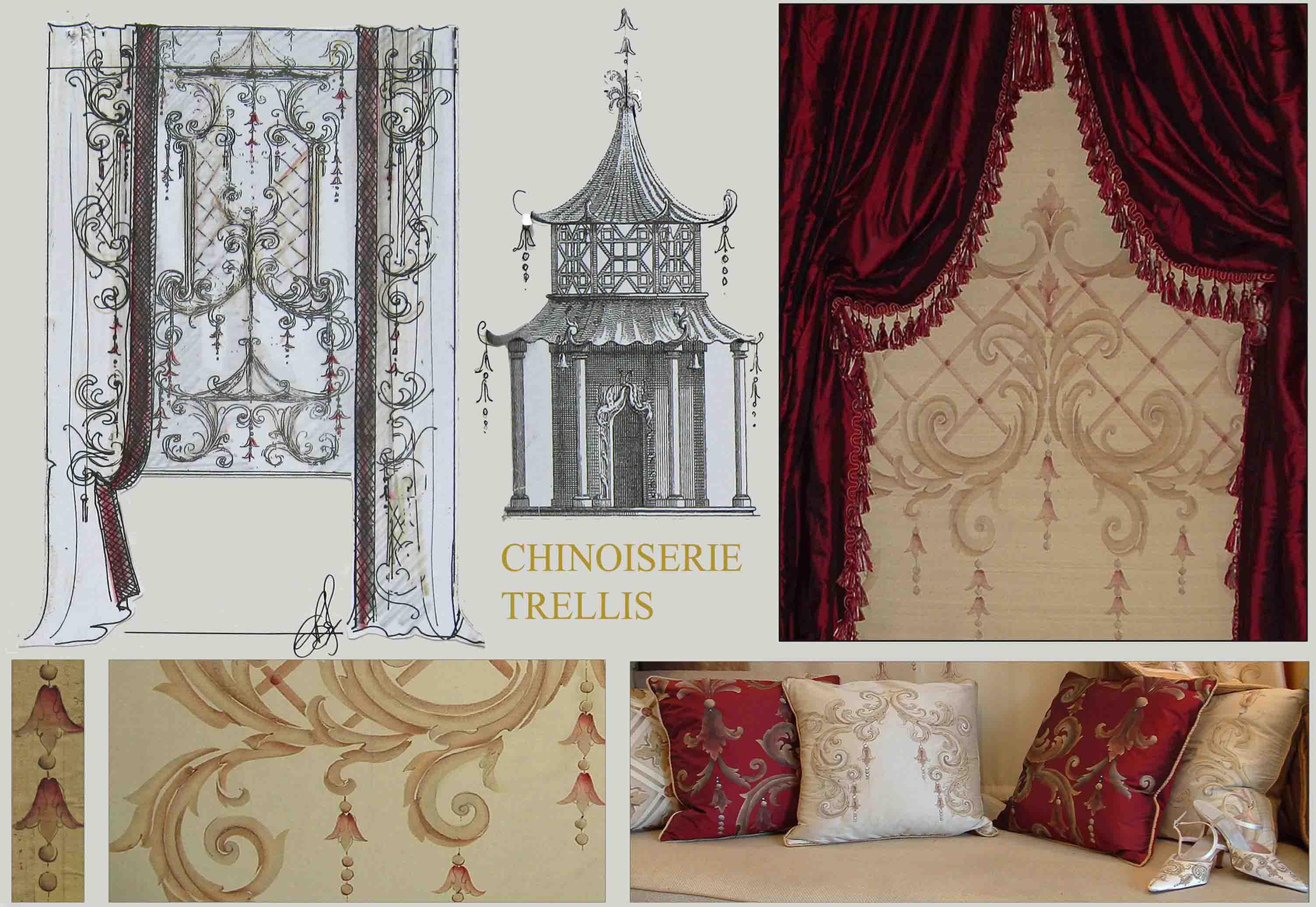 Bery Designs Hand Painted Fabrics Chinoiserie Trellis